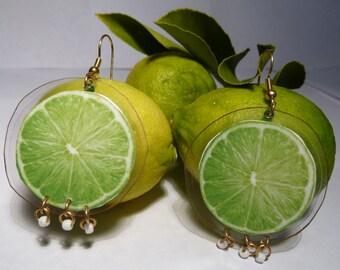 Lime Earrings-Lime Slice-Green Earrings-Carmen Miranda-Fruit Earrings-Lightweight-Laminated Earrings-Dangle Earrings-Culinary-Fun