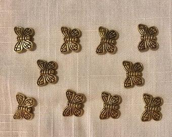 Goldtone Metal Butterfly Beads ~ 13mm x 10mm ~ TWENTY Beads per pack