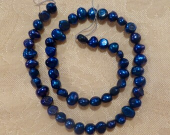 Cultured Cobalt Potato Beads 7mm ~ 14 inch strand
