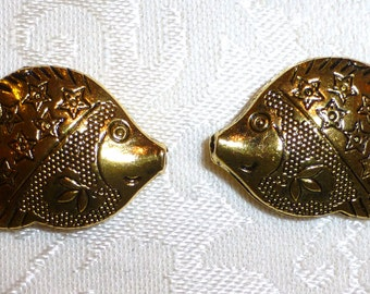 Ornate Large Gold Fish Beads - 30mm x 21 mm - Pack of TWO