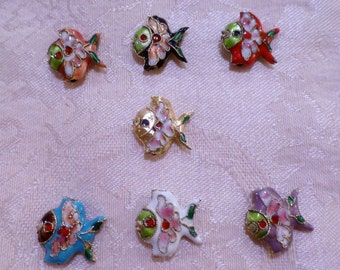 Cloisonne Fish Beads ~ 18mm x 18mm ~ TWO in package