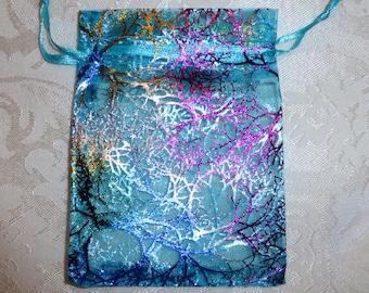 Beautifully Decorated Aquamarine Organza Bags -12cm x 8.5cm - Pack of TEN
