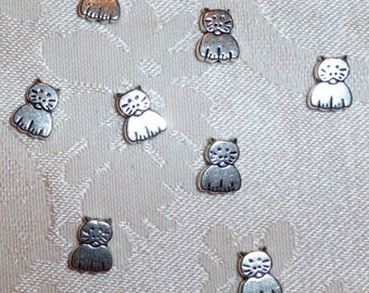 Silver Metal Cat Beads 11mm x 8mm - Ten in Pack