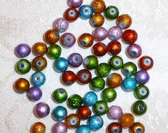 Multicolor Metallic 8mm Glass Beads - Pack of 25