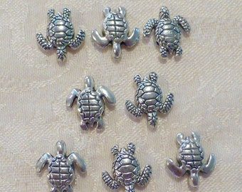Silver Turtle Beads ~ 18 x 16mm ~ 8 in pack