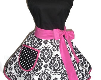 Retro Apron - Black and White Damask with Fuchsia - Womens Apron - Apron with Pocket - Circular Skirt Apron - Pinup Apron