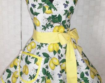 Womens Retro Apron- Lemon Apron- Lemons Lemons Lemons - Circular Flirty Skirt - Womens Apron- Large Pocket- Circular Skirt - Ruffled Hem