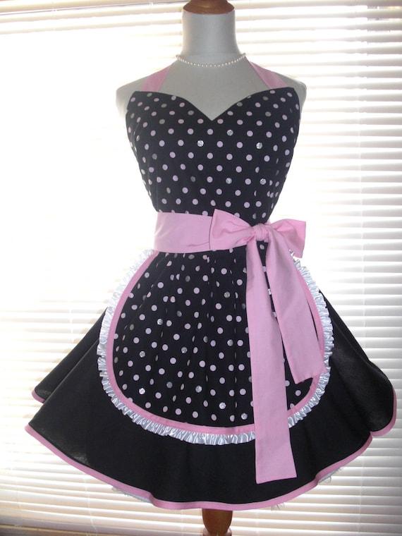 Maid Français rétro tablier - tablier Pin up noir et blanc Bubblegum rose  et argent Bling Polka Dots jupe affectueux Sweetheart décolleté