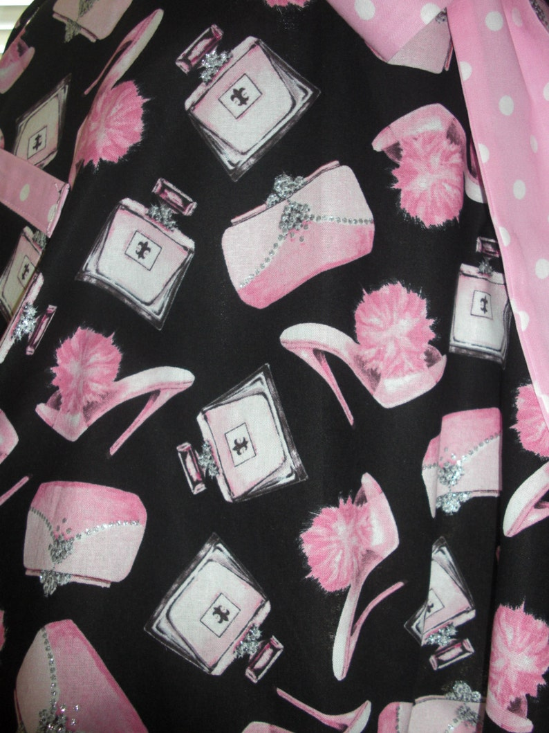 Black and Pink Retro Look Fabric Paired with Pink and White Retro Dots Flirty Circular Skirt Retro Pinup Style Apron  Girly Silver Bling