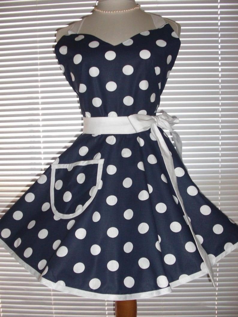 344a7831d6b Fifties Style Sweetheart Retro Apron Navy Blue White Polka