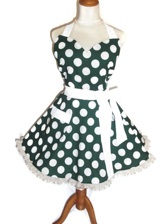 PLUS SIZE - Retro Apron - Fifties Style Retro Apron - Forest Green - Jumbo  Dots - Ruffled Trimming - Flirty Skirt