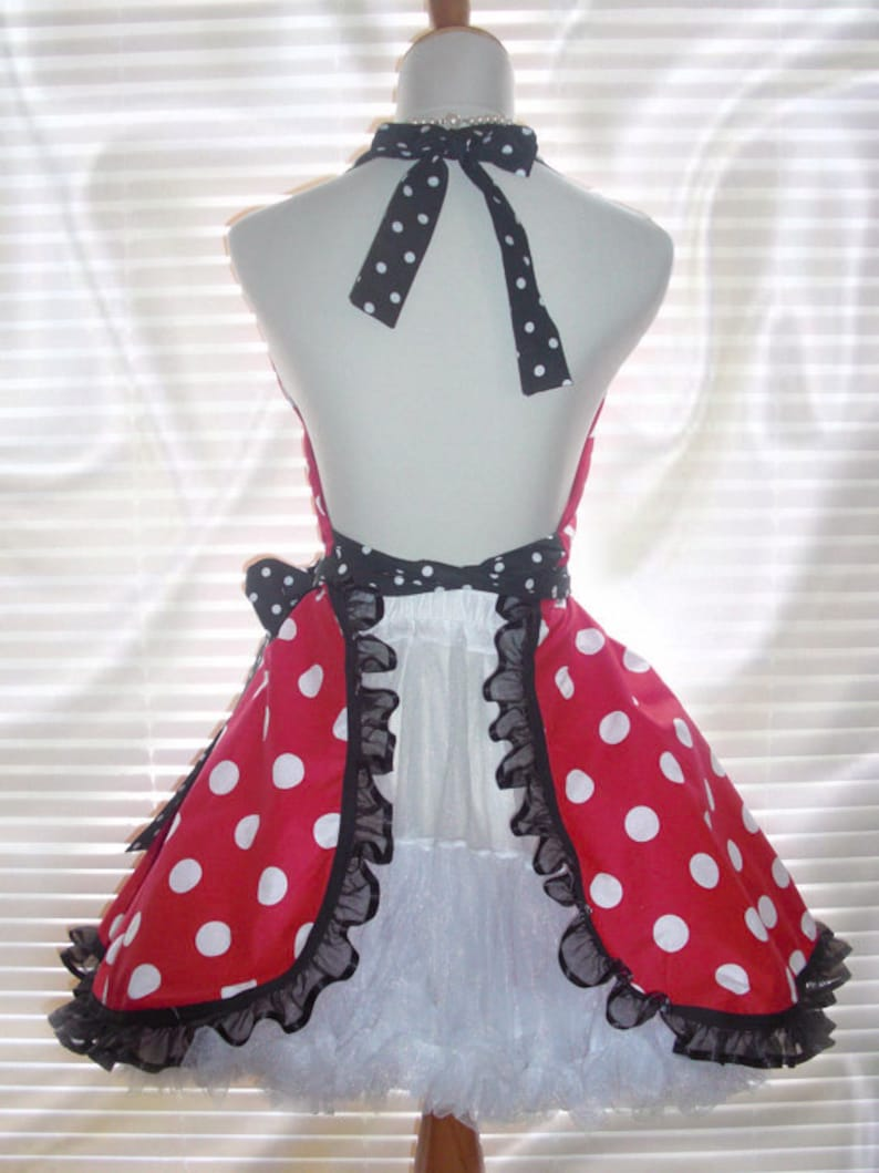 French Maid Apron Pin-up Retro Style Costume Apron Flirty Skirt Sweetheart Neckline Red with Big White Polka Dots