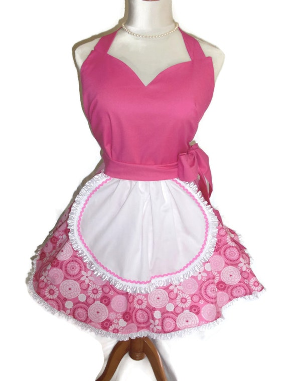 French Maid Apron Retro Apron Raspberry Pink Pinup Apron Pink and White Apron Full Circular Skirt Ruffled Ribbon Ready to Ship