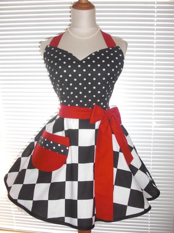la venta de zapatos realmente cómodo claro y distintivo Comedor Retro vestido delantal puntos blancos en Acentos rojo negro negrita  espectacular coqueta falda Extra anchas Checkerd Circular