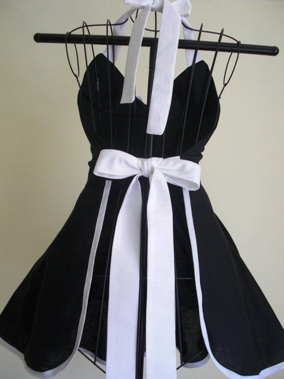 Pin-up Retro Style Black with Large White Polka Dots Flirty Skirt Sweetheart Neckline Womens Full Apron French Maid Apron