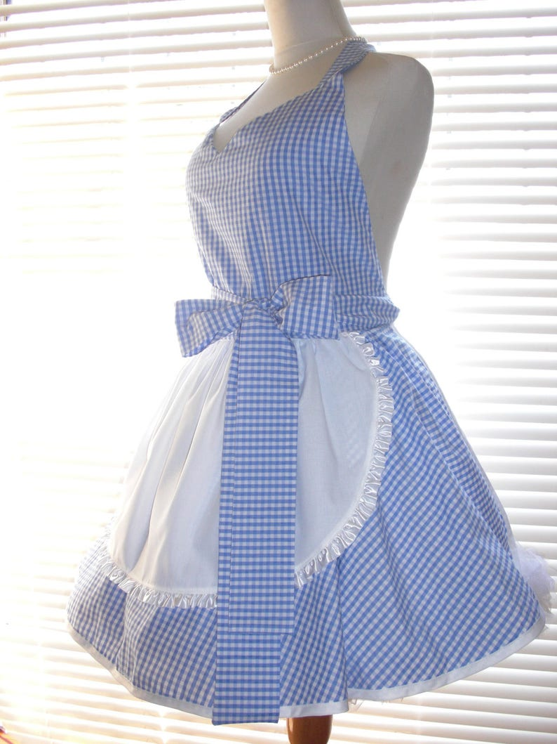 PLUS SIZE Retro Costume Apron French Maid Apron Blue and White Gingham