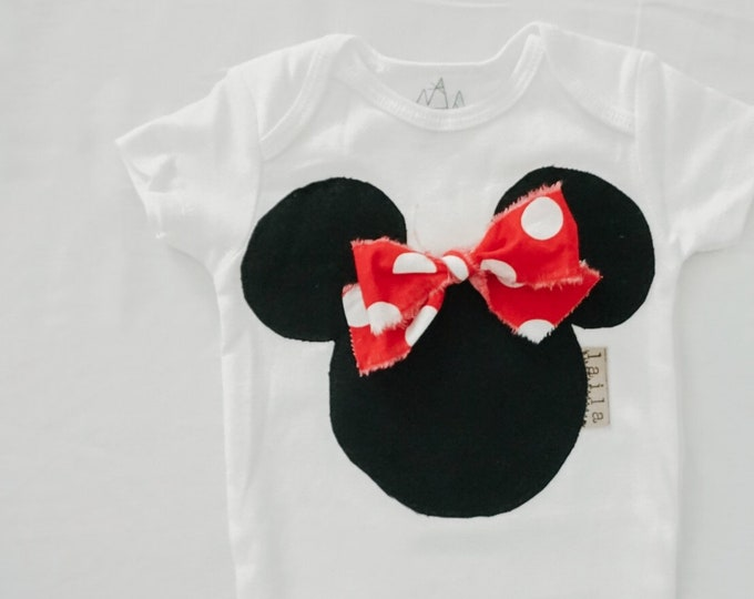 "Swanky Baby ""Put a Bow on that Mouse"" Sleeveless or Short Sleeved Design"