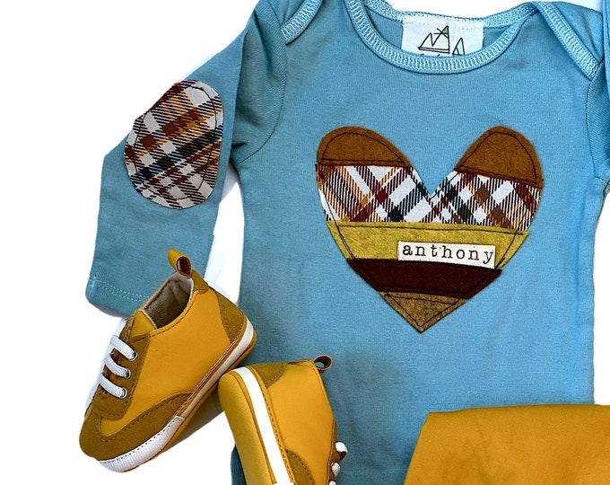 Swanky Shank Valentine Personalized Patchwork Heart Tee or Bodysuit