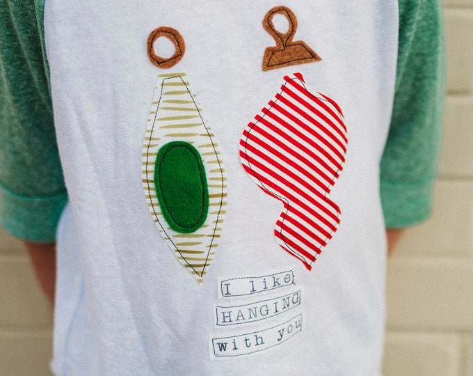 "Holiday Shirt ""I Like Hanging With You"" for Babies and Children; Swanky Shank"
