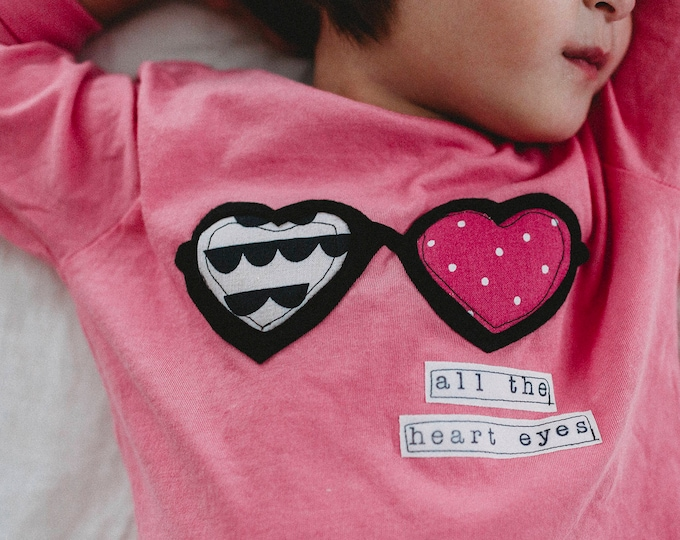 "Swanky Shank Hand Dyed ""All the Heart Eyes"" Baby Bodysuit or Big kid Tee; Valentine's Day"