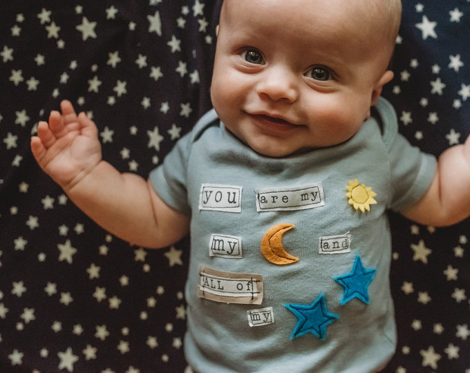 "Swanky Shank ""You Are My Sun and Moon and All of My Stars"" Hand-Dyed Bodysuit or Tee"