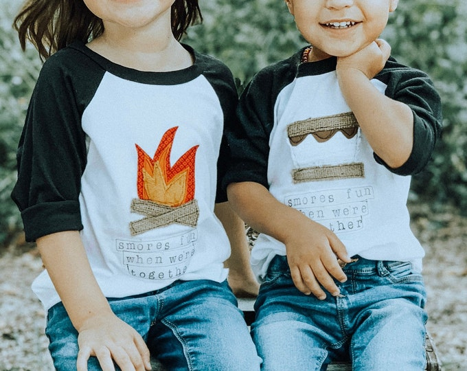"Swanky Shank Gender Neutral Baseball Tee ""S'mores Fun When We're Together""; Choose Fire or S'more Design at Checkout"