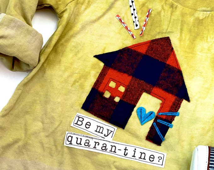 "Swanky Shank Valentine ""Be My Quarantine"" Mustard Dye Blend Ombre Tee"