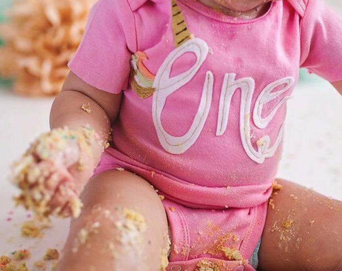 Swanky Shank Hand-Dyed Girl's Pink 'Uni-One' Tee or Bodysuit