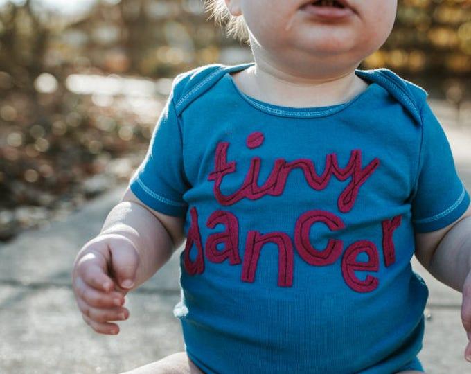 "Swanky Shank ""tiny dancer"" Hand-Dyed Blue Tee or Bodysuit"
