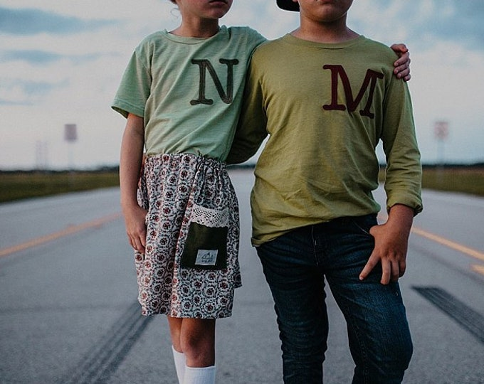 Swanky Shank Autumn Personalized Initial Green DYED Tee; Gender Neutral