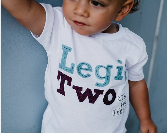 "Swanky Shank Gender Neutral; ""Legit Two...also, TOO LEGIT"" Two Year Birthday Tee"