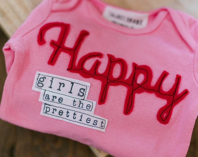 "Swanky Shank ""Happy Girls are The Prettiest"" Hand-Dyed shirt or bodysuit"