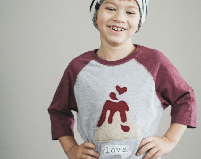 """Swanky Shank Gender Neutral Baseball Tee """"I LAVA You"""" Valentine's Day or All year round"""