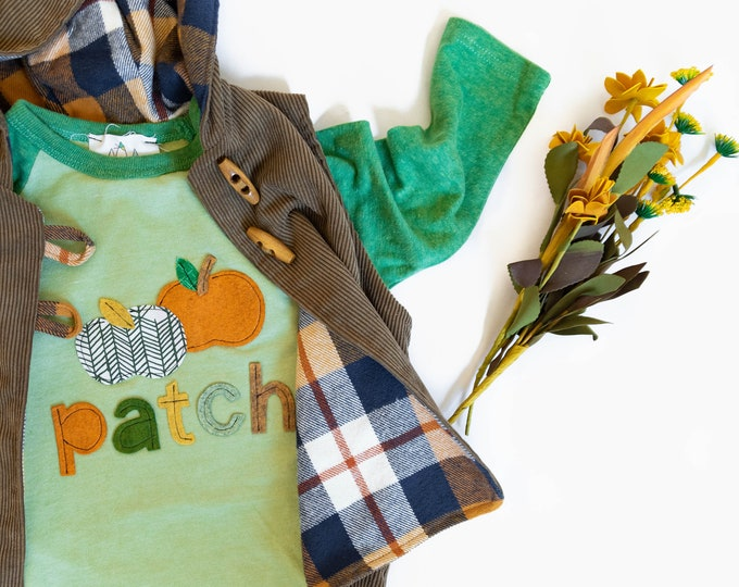 """Swanky Shank Autumn """"A Perfect Patch"""" Hand dyed Baseball Tee"""