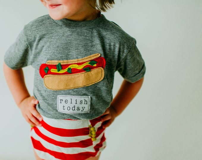 "Swanky Shank ""Relish Today"" Hotdog Tee; Gender Neutral"