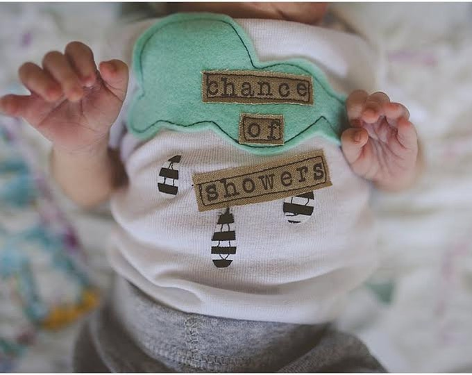 "Swanky Shank Newborn ""Chance of Showers"" Bodysuit"