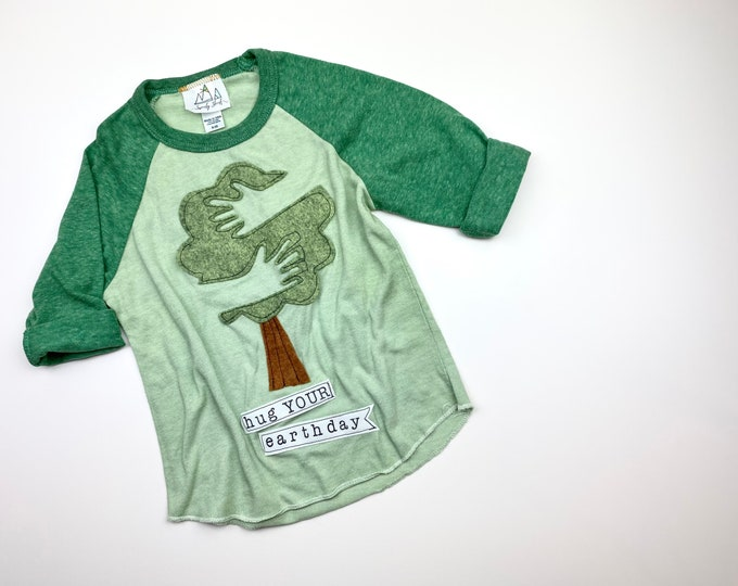 """Toddler Earth Day Shirt, Kids """"Hug YOUR Earth Day"""" Hand-Dyed Baseball Tee, Gender Neutral by Swanky Shank"""