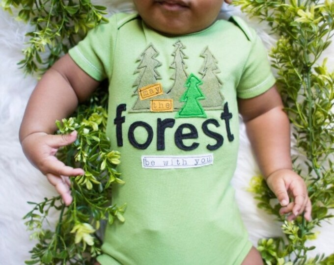 "Swanky Shank Hand-dyed ""May the Forest Be With You"" Bodysuit or Tee"