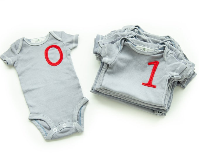Swanky Shank HAND DYED 13 Month to Month Typewriter Font Bodysuits