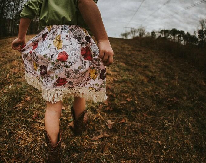 """Swanky Shank Girl """"Pink Forest Floor"""" Skirt with fringe"""