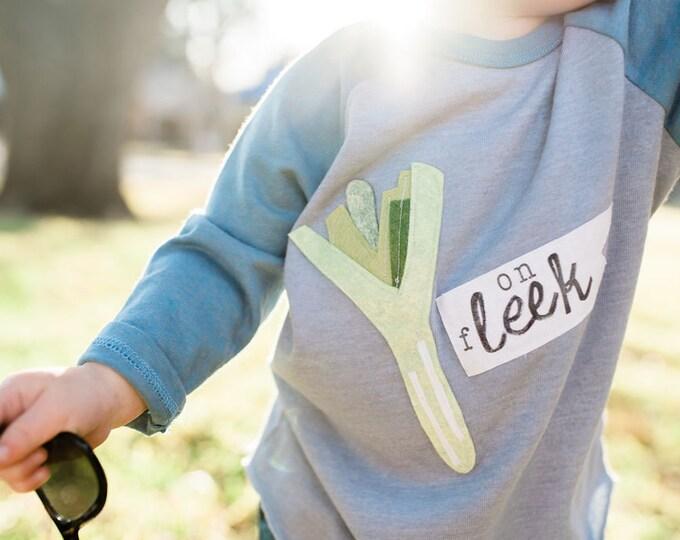 "Toddler Shirt, Kids Shirt: Punny Vegetable Tee ""on fLEEK"" gender neutral shirt by Swanky Shank"