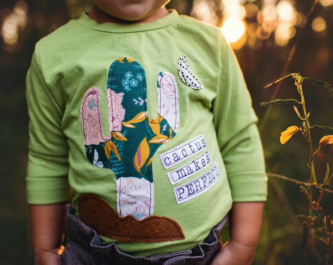 """Swanky Shank Girl's """"Cactus Makes Perfect"""" Hand-dyed Green Design"""