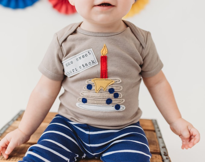 "Swanky Shank ""one sweet short stack"" First Birthdag Hand-dyed Tee or Bodysuit"