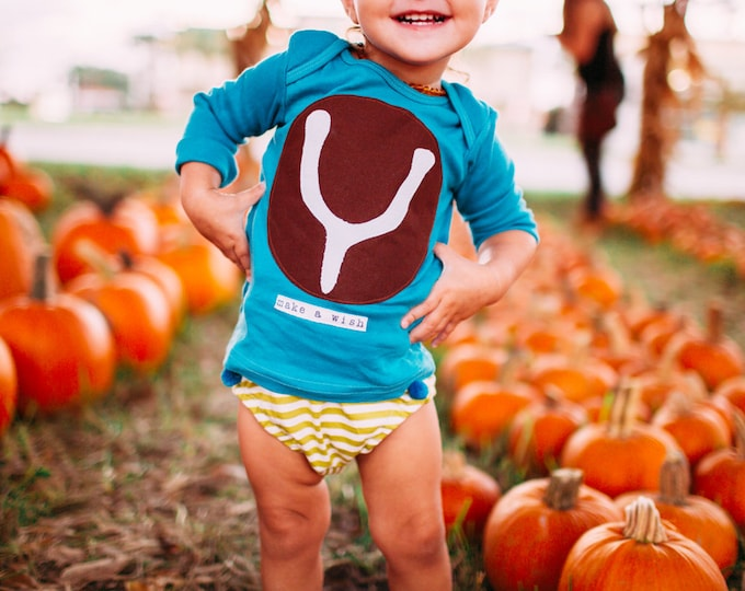 """Swanky Shank Baby """"Wish Bone"""" Bodysuit; Hand dyed and Hand stamped; Thanksgiving Shirt, Baby Thanksgiving shirt; Baby neutral Thanksgiving"""