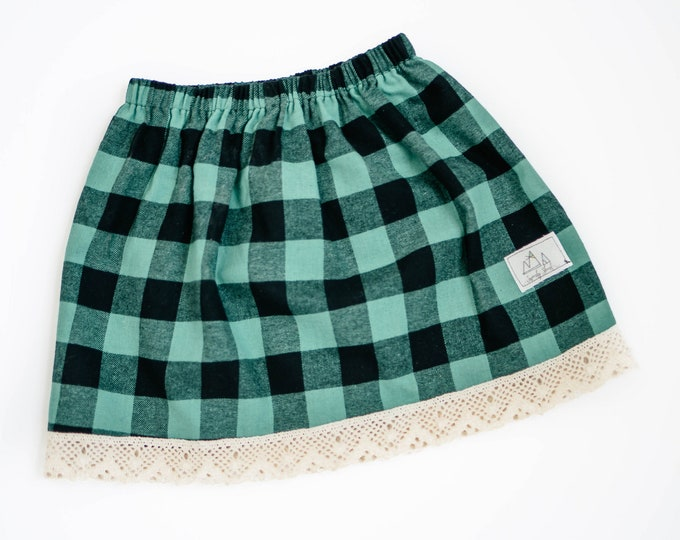 Swanky Shank Girls Ready to Ship Green Plaid Skirt