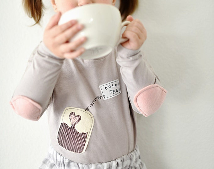 "Swanky Shank Girl or Boy ""Cute TEA"" Tee or Bodysuit; Valentine's Day; Optional Elbow Patches"
