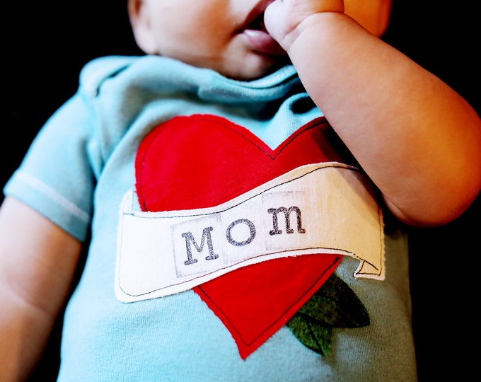 "Swanky Shank Hand Dyed ""Mom Is Tattooed on my Heart "" Gender Neutral Tee or Bodysuit"