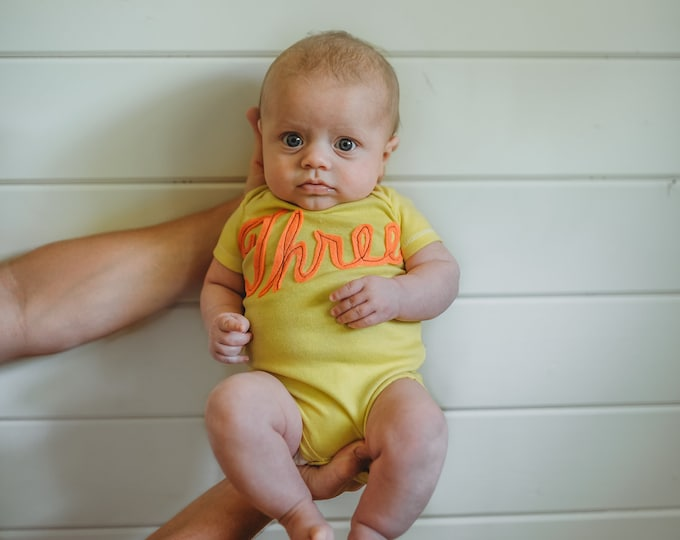 Swanky Shank HAND DYED 13 Month to Month Script Cursive Bodysuits