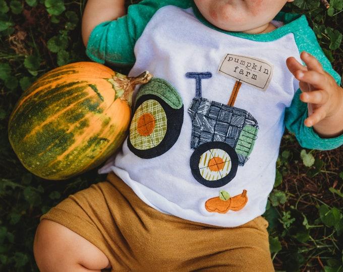 "Swanky Shank Gender Neutral ""Pumpkin Farm"" Baseball Tee"