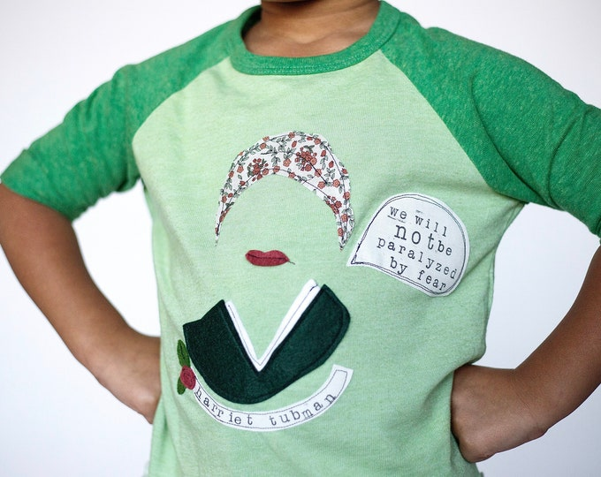 """Toddler and Kids shirt featuring Harriet Tubman, Black History She-ro """"We Will Not Be Paralyzed By Fear"""" by Swanky Shank"""